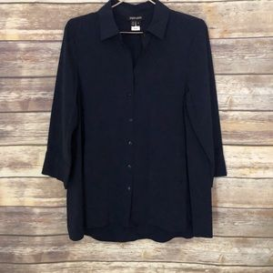 Paperwhite Navy Button Shirt Size 12
